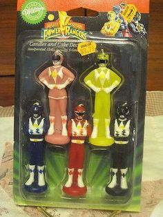 MIGHTY MORPHIN POWER RANGERS CANDLE AND CAKE DECORATION VINTAGE ...