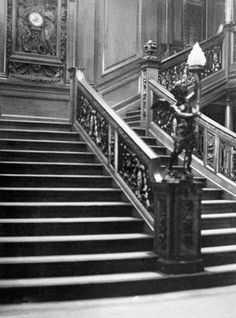 Photograph:The first-class stairway, known as the Grand Staircase, on the Titanic.