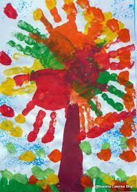 Alberi d'autunno realizzati con varie tecniche Foglie colorate...  Collage con pezzetti di carta strappati Sotto la ...