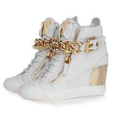 euro incl shipping 2013 New Arrival Women White Leather With Big Gold Chain  and Zip GZ Wedge Sneakers,Design Rubber Sole Winter High Top Shoes -in  Sneakers ... b65e3699081a