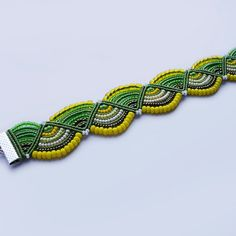 Micro macrame knotted bracelet  Green  Yellow  by MartaJewelry