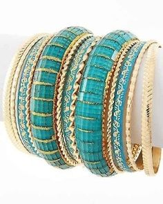 #Turquoise & Gold Bangles