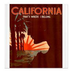 Vintage California Shower Curtain $57.99