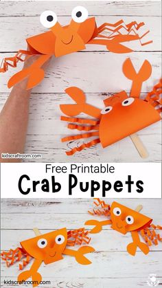 Kids Discover Printable Crab Puppet Craft For Kids Summer Crafts For Kids, Paper Crafts For Kids, Craft Activities For Kids, Preschool Crafts, Diy For Kids, Fun Crafts, Craft Kids, Beach Crafts, Crafts For Children