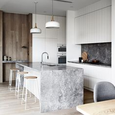 "256 Likes, 12 Comments - CDK Stone (@cdkstone) on Instagram: ""Love this kitchen from @mimdesignstudio . Stunning! Portsea Grey Marble Island bench, splashback…"""