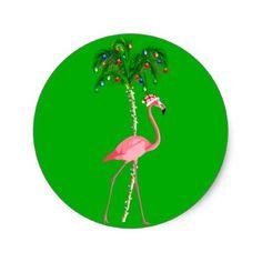 Christmas Flamingo Classic Round Sticker - christmas craft supplies cyo merry xmas santa claus family holidays