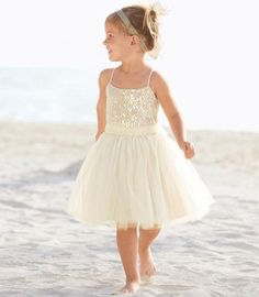 cream puffy tulle skirt spaghetti strap flower girl dress with glittering sequins