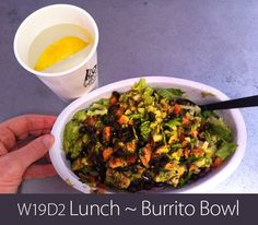 June 13th 2013 - W19D2 Lunch - Burrito bowl of chicken, black beans, lettuce, guacamole, and salsa. No rice. No cheese.