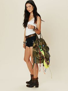 """Free People Brigadier Embellished Tote, $698.00--At this rate, I'd make a killing if I """"bedazzled"""" a $20 vintage army bag!"""