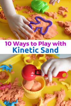 10 Ways to Play with Kinetic Sand. Lots of fine motor practice!