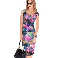 Fashion Free Shipping Designer Women Dress Elegant Floral Print Work Business Casual Party Pencil Sheath Vestidos 004