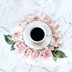 Coffee & Pink Flowers
