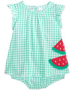 First Impressions Baby Girls' Check-Print Watermelon Sunsuit, Only at Macy's - Baby Girl (0-24 months) - Kids & Baby - Macy's