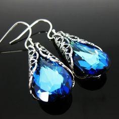 Blue EARRINGS Peacock Victorian Earrings Wedding Jewelry Bridesmaid   Vivian-Feiler-Designs - Jewelry on ArtFire
