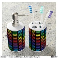 Rainbow Squares and Stripes Black Bathroom Set
