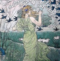 Louis John Rhead (English-born American, Art Nouveau, 1857–1926): Art Nouveau painting   JV