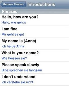 German Language screenshot from our German language guide application for iPhone . Study German, German English, Learn English, Learn French, German Grammar, German Words, German Language Learning, Learn A New Language, Languages Online