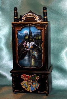Halloween OOAK Dollhouse 1:12 HandPainted Armoire Wardrobe Harry Potter Hogwarts