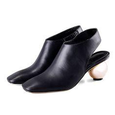 EGONERY модный бренд женщин квадратный носок золота окатышей пятки черные насосы обувь из натуральной кожи женщина на высоких каблуках кратким нагнетает ботинки