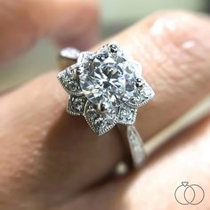 A floral setting is the base of this Victorian themed diamond engagement ring from Gabriel & Co. Shop more from this designer on Robbins Brothers website. Classic Engagement Rings, Princess Cut Engagement Rings, Platinum Engagement Rings, Designer Engagement Rings, Engagement Ring Settings, Halo Engagement, Floral Engagement Ring, Wedding Ring Designs, Wedding Rings