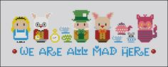 From Alice in Wonderland, a funny pattern with the craziest characters, including the Mad Hatter and the March Hare with tea service and a little mouse coming out from the sugarpot! \r\n\r\n This is a digital PDF file of a cross stitch pattern. You will
