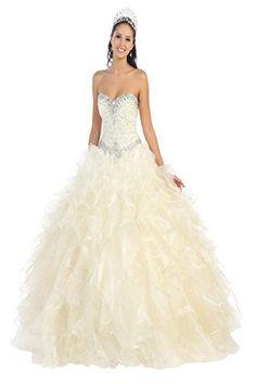 2Promdress Women's Long Chiffon Rhinestone Ruffle Prom Ball Formal Dress (14 Ivory)...