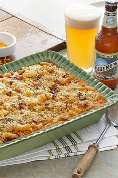 America's favorite comfort food--creamy macaroni and cheese just got even better with the smooth, hoppy flavor of Blue Moon White IPA, the warm and sweet flavors of coriander and cumin, and smoky thick-cut bacon. Beer Mac And Cheese, Creamy Macaroni And Cheese, Mac Cheese, Slow Cooker Recipes, Beef Recipes, Cooking Recipes, Entree Recipes, Pasta Recipes, Pasta Dishes
