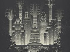 Live Music Capital by Shawn Ryan  Incredible art deco city scape