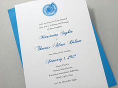 Custom Beach Wedding Invitation with Blue Shell Insignia