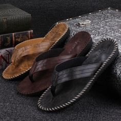 0b524afcff6ca6 New Arrival Men s PU Leather Flip Flops British Style Boardered. Zapatos  Hombre