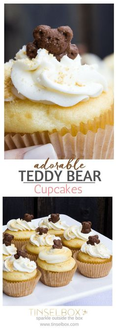 Adorable Teddy Bear Vanilla Cupcakes. These moist cupcakes with buttercream frosting are perfect for a Teddy Bear Picnic party theme or a camping themed birthday party. Simple, easy and delicious. #themedcakes