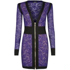 Womens Cocktail Dresses Balmain Purple Knitted Lace Mini Dress ($2,810) ❤ liked on Polyvore featuring dresses, short dresses, purple dress, short purple dresses, plunge neck dress and lacy dress