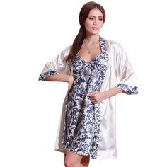 Women's  Silk-like Sleepwear Robe Creative Blue-and-White Dress Porcelains Ropa Dormir Pajamas Robe Set Y12