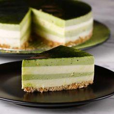 Matcha Layered Cheesecake Recipe by Tasty - Cheesecake Recipes Layered Cheesecake Recipe, Layer Cheesecake, Cheesecake Recipes, Dessert Recipes, Green Tea Cheesecake, Tea Recipes, Muffin Recipes, Dessert Ideas, Matcha Cake