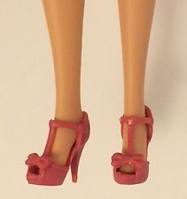 Barbie Doll High Heel Shoes T-Strap Model Muse Mattel Rouge Pink for collector