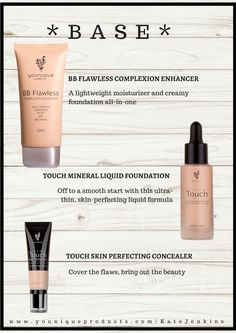 Touch Face Products - BB Flawless, Liquid Foundation, Concealer