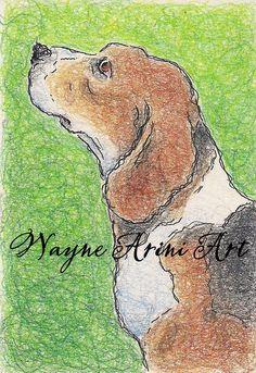 Beagle Art - Original Dog Drawing - Beagle Portrait on Etsy, $25.00