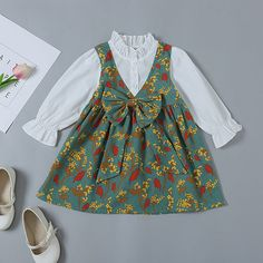 Floral Print Bowknot Embellished Fake Two-Piece Dress Kids Clothes Sale, Cute Baby Clothes, Kids Clothing, Little Girl Dresses, Girls Dresses, Romper Dress, Dress Clothes, Tulle Dress, Daily Dress