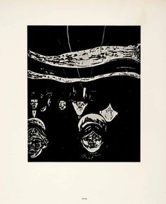 1958 Print Edvard Munch Fear Symbolist Expressionist Dark Graphic Bold Dread Art