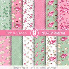 Papier rose numérique Digital Floral vert rose par blossompaperart