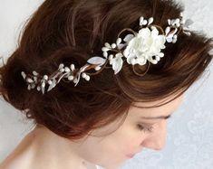 bridal headpiece white flower crown flower crown wedding
