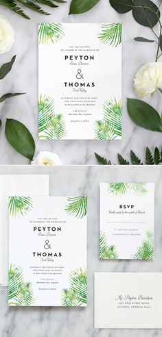 Tropical inspired wedding invitation featuring watercolor palm leaves and beautiful modern typography. Our invitation suites are professionally printed on thick cotton stock. Colorful Wedding Invitations, Traditional Wedding Invitations, Watercolor Wedding Invitations, Wedding Stationary, Tropical Wedding Decor, Wedding Announcements, Modern Typography, Wedding Ideas, Wedding Inspiration