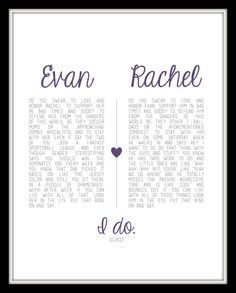 Wedding vows wood sign 12 x 20 subway engagement i do reception i do rachel evan custom vow print and the fact that these vows are as witty and cute as they can get junglespirit Gallery