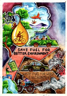 Save oil and save the next upcoming future of the new generation Earth Drawings, Art Drawings For Kids, Energy Conservation Poster, Save Water Poster Drawing, Drawing Competition, Environment Painting, Composition Art, Indian Art Paintings, Creative Poster Design