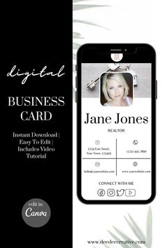 There's no need to kill the rainforests with physical Business Cards when you can create a digital business card! I've created these awesome Digital Business Card templates. Instant download, easy to edit within Canva, simply edit to your branding colours and fonts. Your business cards include a video tutorial showing you how to personalise it to your business. Download and created your beautifully branded digital business card today. Digital Business Card, Business Cards, Etsy Seo, Virtual Assistant Services, Social Media Tips, Business Tips, Rainforests, Digital Marketing, Create Yourself