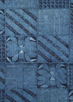 Adire Eleko cloth by the Yoruba people, Nigeria. Cotton fabric, cassava starch resist-dyed with natural indigo dye | Indigo Textiles from West Africa
