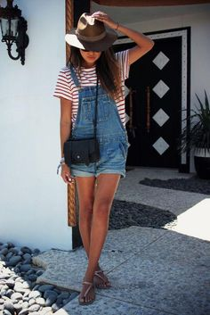 For a casual day, take a cue from Julie Sarinana of Sincerely Jules, who cuffed her vintage-style shorteralls over a striped tee and finished off the look with a pair of flat sandals, cross body bag, and felt hat.