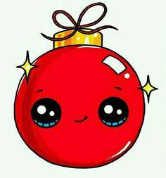 Bola de Natal vermelha Kawaii