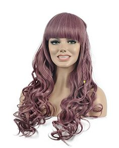 Diy-Wig Fashion New Cream Purple Long Curly Full Head Wig with Cute Flat Bang and a Styled Plait Long Curly Hair, Curly Hair Styles, Diy Wig, Purple Wig, Cute Flats, Plait, Bangs, Cosplay, Colors