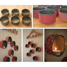 Retira perfectamente las etiquetas de las latas lavadas, cúbrelas con tela, y con la cuerda cuélgalas a difere  ntes alturas desde el gancho con las pinzas. Finalmente coloca las velas en cada lata y ¡listo!